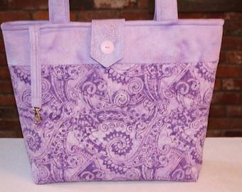 Lavender Batik Quilted Tote Bag