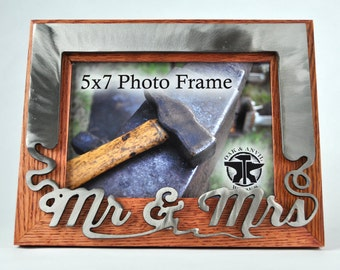 Picture Frame, Mr and Mrs, 5x7 Frame, Wood and Metal, Wedding Gift, Custom Picture Frame, Gift for Her, Anniversary Gifts, Blacksmith Made