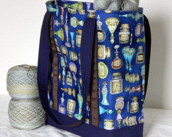 Large zippered tote bag, zippered interior pocket, fully lined, extra long straps, Harry Potter, Potions
