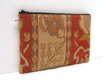 Clutch Purse, Ipad Mini Sleeve  - Mesa Print in Brick Red and Natural