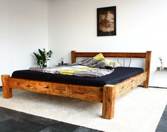 Bed - Design furniture from antique wood-180 x 200