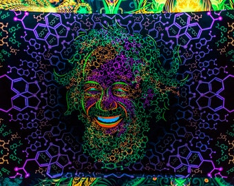 Psy backdrop 'Alexander Shulgin' UV blacklight active fluorescent psychedelic tapestry wall hanging decoration goa trance party visual art