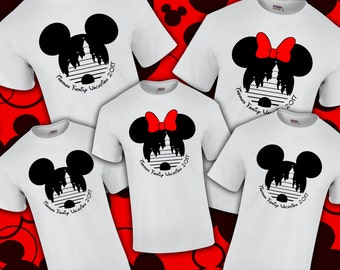 Disney Family Vacation Shirt - Mickey Head & Cinderella's Castle - Personalized Last name
