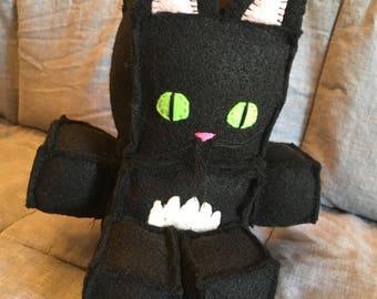 Black cat, felt robot cat, cat doll, robot