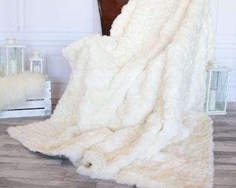 Exclusive Real White Rabbit Throw, Rabbit Fur, Super Soft Rabbit Throw