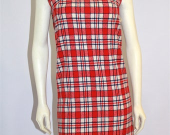 Vintage Clothing • Women's Dresses • 1960's Plaid Wool Dress •Red and White Plaid with Neck Tie • Short - Mini Style •