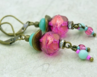 Vintage style earrings with Czech glass beads