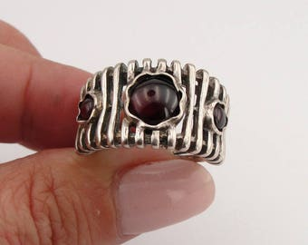 Hadar Jewelry Handcrafted Sterling Silver Garnet Ring size 7, Red stone 925 Silver ring, January Birthstone, Birthday gift, Ethnic Ring