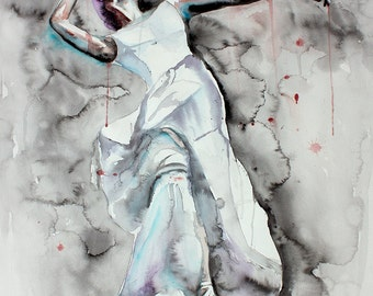 Original Watercolor Painting. Girl with beautiful dress a, dancing. Girl with sword. That's live. Wall art.