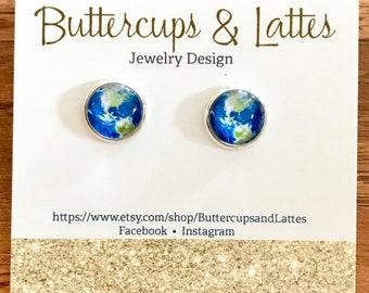 World Stud Earrings 10mm, Globe Stud Earrings