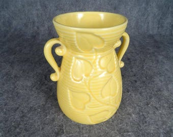 Shawnee Yellow Ceramic Flower Vase With Handles C. 1940'S Model 805
