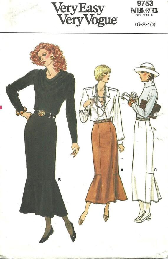 Vogue 9753 / Vintage Sewing Pattern / Fishtail Skirt / Size 6 8 10 ...