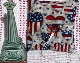 Americana Ring Bearer Pillow, Bridal, Military Wedding, Patriotic