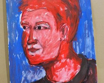 Portrait of a young man - original - mixed media