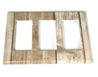 Triple Rocker Switchplate  Light Switch Cover  Switch Plate in Whitewash (284TR)