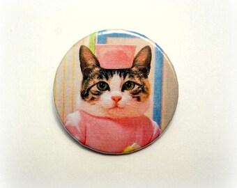 Doris the nurse cat - button badge or magnet 1.5 Inch