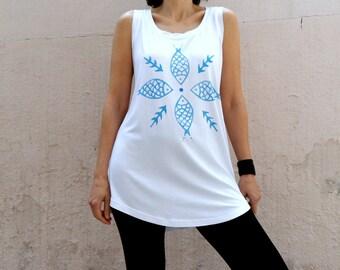 Women Tank Top, Blue Fish Design,  Tunic Dress Sleeveless, Women Summer Top, hand stamped