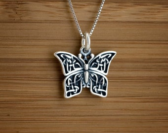 STERLING SILVER Celtic Butterfly My ORIGINAL Charm Necklace or Earrings -  Chain Optional