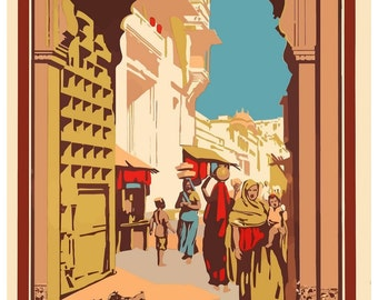 Vintage See India Poster Travel Poster Print