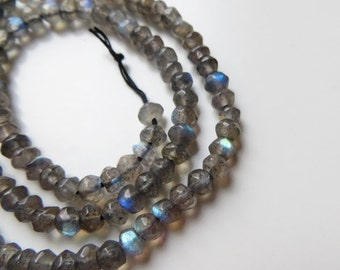 3mm Faceted Labradorite Gemstone Rondelle Beads - One Full Strand