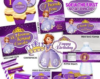 Princesa fiesta imprimibles, instante descargar decoraciones de princesa, cumpleaños princesa, Sofía el primer RP-56
