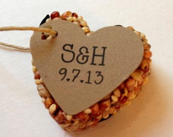 24 Bird Seed Heart Shaped Favor MINI- Wedding and Events - Personalized bird seed favor