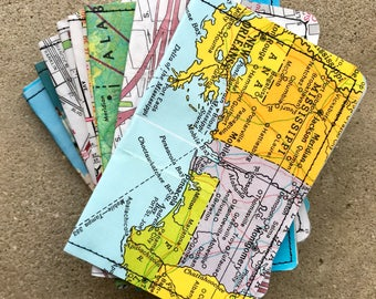 Slim Wallet- New Orleans and Southern USA Vintage Map and Postcards- Choose 1