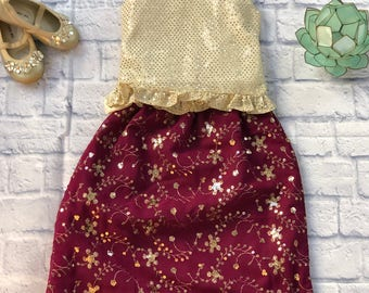 Maroon and Gold Child's Desi Outfit (Lehnga and Top)