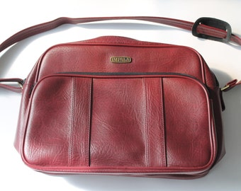Vintage Travel Bag / Burgundy Travel Bag / Bordeaux Travel Bag / Impala Travel Bag/Red travel bag/Vintage shoulder bag/Imitation leather bag