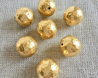 22K Gold Plated 14mm Copper Bead, Hammered Gold Beads, 14mm, 4Pcs