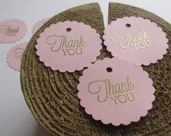 25 pink and gold tags, baby girl shower thank you tags, pink girl baptism favor tags, bridal pink and gold tags, wedding tags, scallop tags