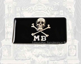 Personalized Money Clip Steampunk Skull and Cross Bones Gothic Inspired Inlaid in Hand Painted Black Enamel