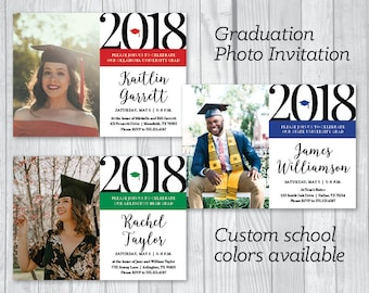 Graduation Party 5x7 Custom Personalized Photo Printable Invitations - Custom School Color Accent - College or High School - Class of 2018