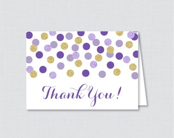 Printable Purple and Gold Bridal Shower Thank You Card - Purple and Gold Glitter Polka Dots Bridal Shower Thank You Card - 0001-R