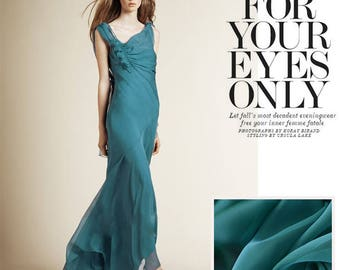 """100% fine silk chiffon fabric, blue green chiffon, 53"""" for Spring/Summer Dresses/blouses/skirts/Scarves by the yard"""
