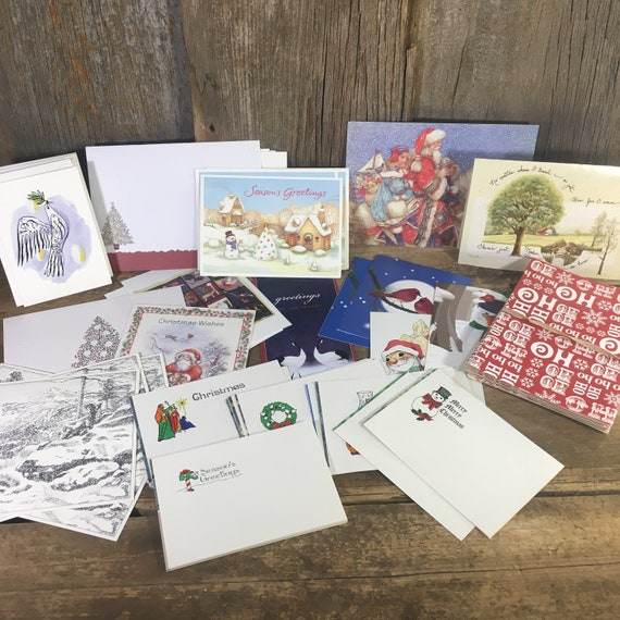 Lot of Holiday Christmas cards all unused with envelopes, some duplicates, over 70 Christmas cards, scrapbooking holiday cards, paper cards