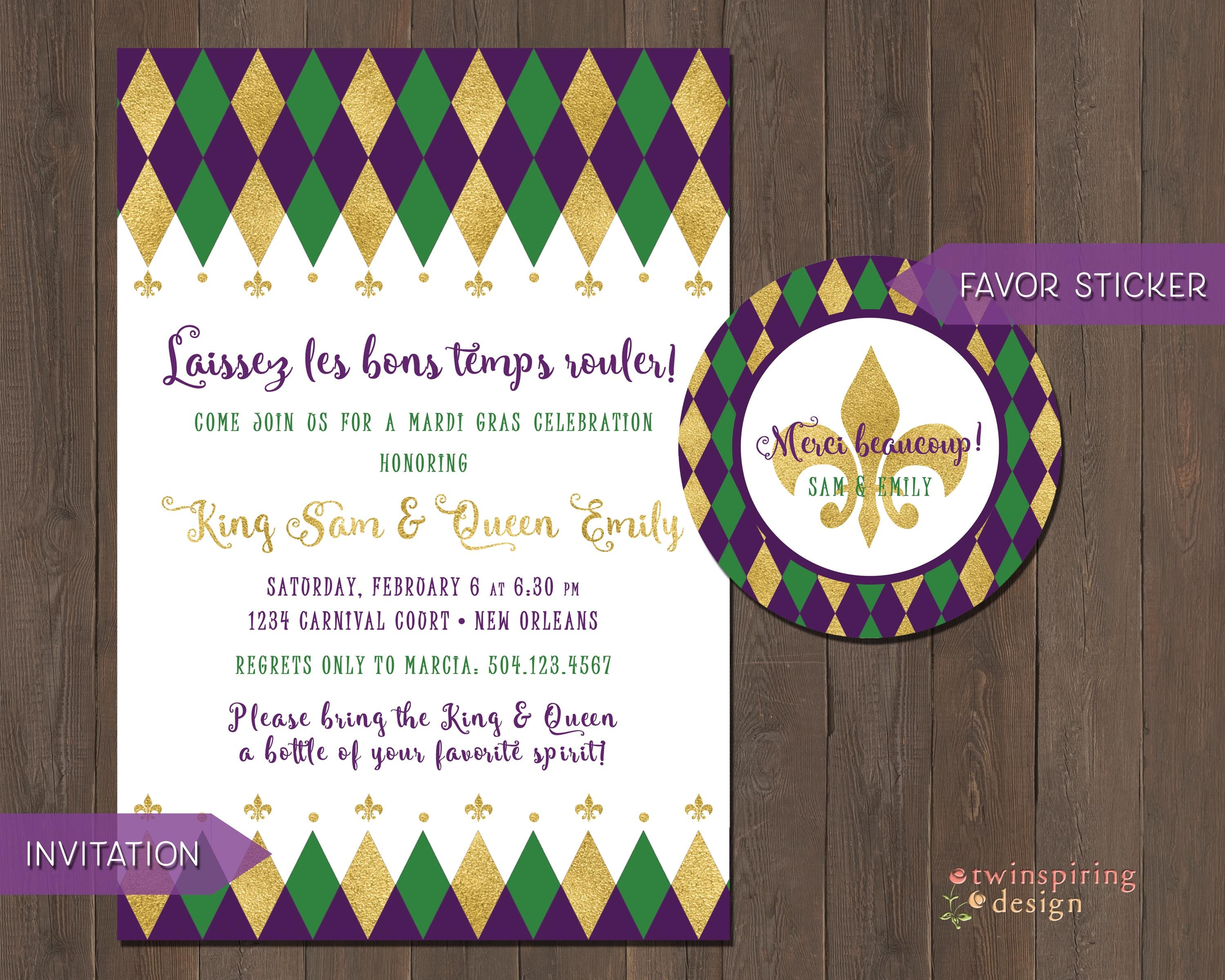 Mardi Gras Party or Couple\'s Shower Invitations with
