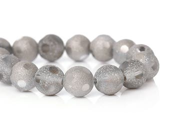 Lot 20 beads in frosted glass grey 10mm - SC65766-creating jewelry