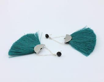 Teal Fringe Tassel Drop Earrings with Handmade Tassels and Black Swarovski Faceted Cabochons, Handmade Jewelry by Detail London.