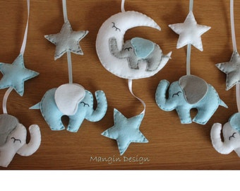 Elephant mobile baby cot mobile star moon elephant baby nursery decor blue grey white musical mobile
