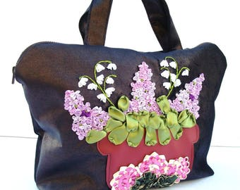 Embroidered Lilac Ribbon Bag