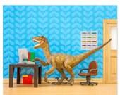 30% OFF SALE Velociraptor dinosaur decor art print: Fast Forwards
