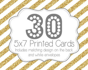 30 PRINTED INVITATIONS and white envelopes