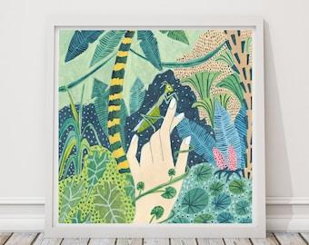 Praying Mantis print, Praying Mantis Illustration, Rainforest Illustration, Jungle Print, Childrens decor, Nursery wall art, Animal print