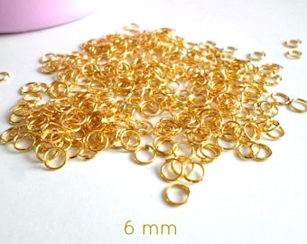 10 grams of jump rings open Gold 6 mm