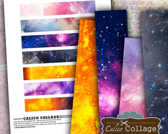 Galaxy Strips Digital Collage Sheet 1x6 Border Images, Scrapbooking, Art Journal, Digital Download, Digital Borders, Digital Strips