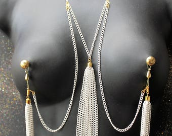 Nipple piercing alternative Nippelicious NON piercing Nipple jewelry Necklace to Nipples Chain Set Adjustable Nipple Rings Mature Sex Toys