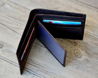 Father''s Day Gift,Personalized Mens Leather Wallet,Monogrammed Wallet, Groomsmens Wallet  Gift
