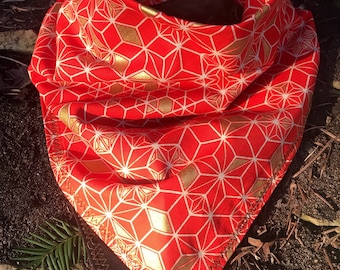 READY to SHIP-Japanese Asanoha Geometric Bandana-Unisex Snapback Bandana Scarf-Cotton-Bittersweet Red/Metallic Gold/Black-HEMP Leaf