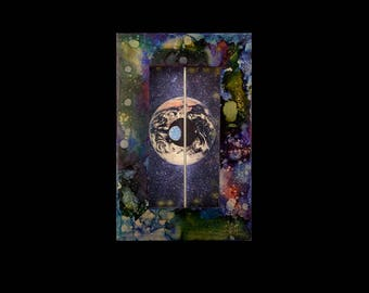 The Present Moment illuminated shadow box collage assemblage art, mixed media, original fine wall or shelf art, Leslee Lukosh of Foundturtle